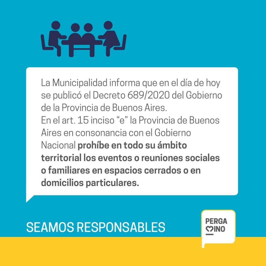 Por decreto, la Provincia prohibió las reuniones sociales en Pergamino