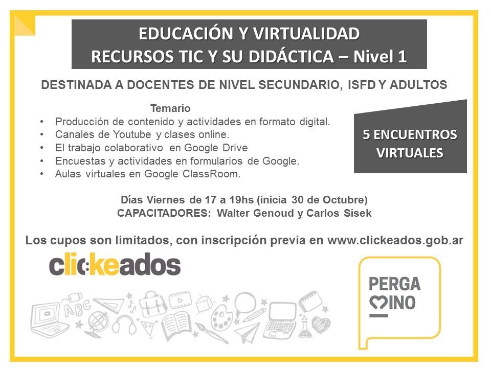 """Clickeados abre la segunda cohorte del curso """"Educación y Virtualidad"""" destinado a docentes"""